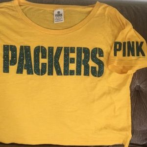 Pink VS NFL Packers Cropped Oversized T-shirt XS